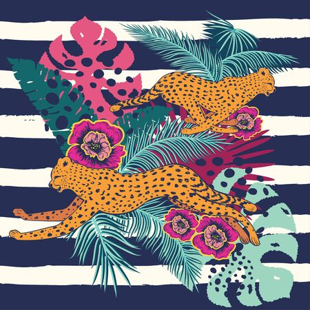 Vintage style animalistic design with running cheetah over striped background. Stock Illustratie
