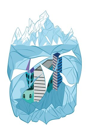 Design of a big iceberg and frozen city buildings illustration.
