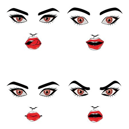 Female face with brown eyes and red lips in different emotions design.
