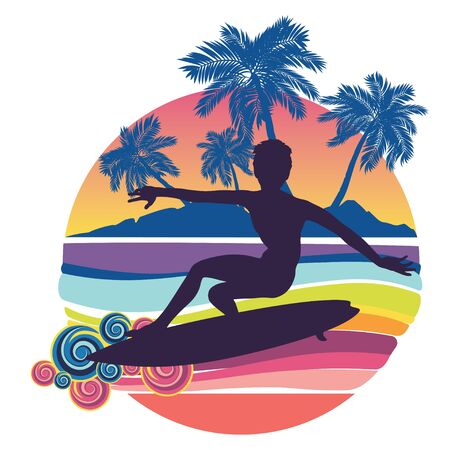 Rushing waves and surfing man silhouette design. Standard-Bild - 133424204