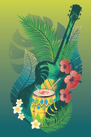 Music design with retro acoustic guitar, drum and tropical leaves and flowers.