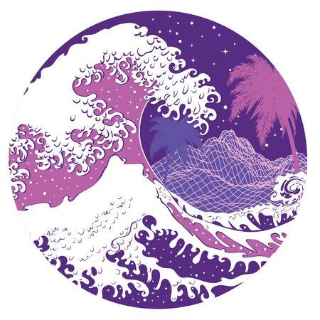 Illustration of nightscape with big ocean waves, modern retro art design.