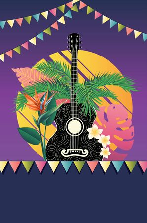 Music design with retro acoustic guitar and tropical leaves and flowers.