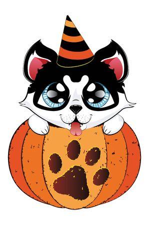 Cartoon siberian husky sit in pumpkin, cute Halloween dog. Illustration
