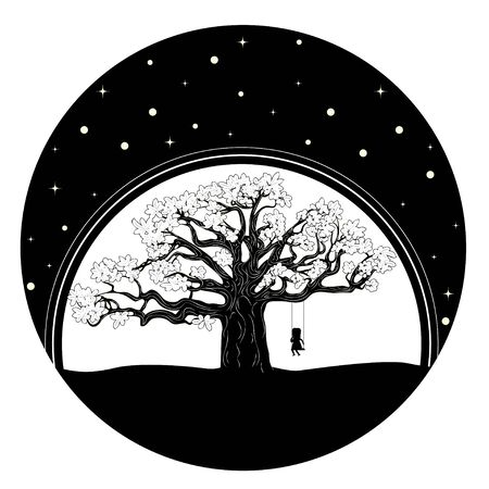 Silhouette of girl on swing and big tree in the night background.