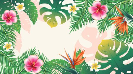 Floral banner with tropical leaves and exotic flowers design. Stock Illustratie