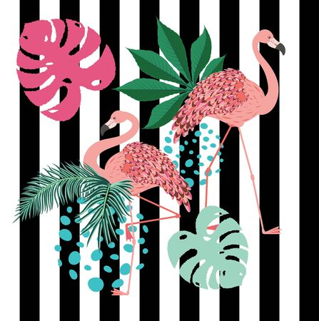 Vintage style animalistic design with pink flamingo over striped background. Stock Illustratie