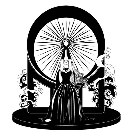 Fantasy witch woman with crystal ball, fortune telling, conjuring.