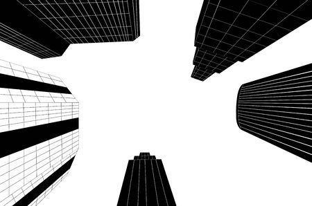 Abstract black and white city skyscrapers in perspective. Ilustracja