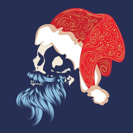 Christmas skull with modern hairstyle and beard wears santa cap illustration. 向量圖像