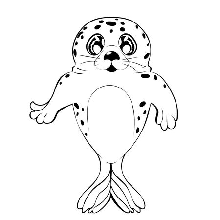 Cartoon kawaii seal with big eyes in black and white design. 일러스트