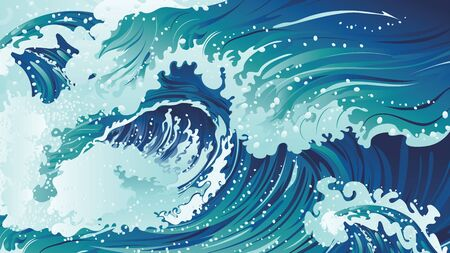Big rushing sea or ocean waves design.