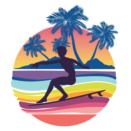 Rushing waves and surfing man silhouette design.