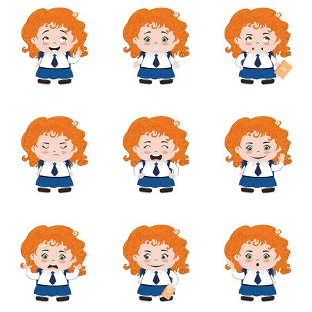 Cute cartoon school girl in different poses and expressions.