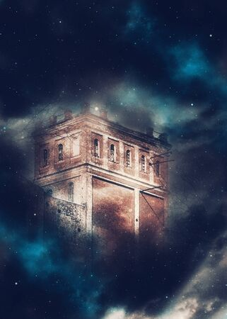 Old brick castle tower night scene with fantasy starry fog background.