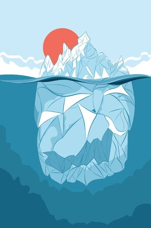 Design of an abstract cartoon iceberg, floating mass of ice.