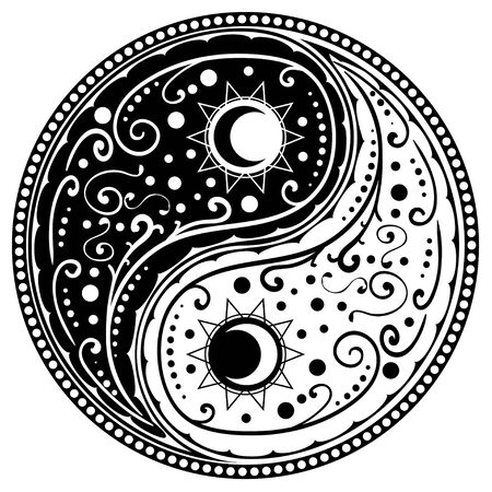 Circular ornament yin yang sign paisley design.
