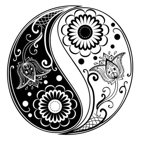 Circular ornament yin yang sign paisley design. Vector Illustration