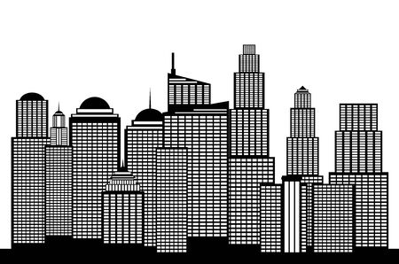 Modern city skyscrapers silhouettes in black and white illustration.