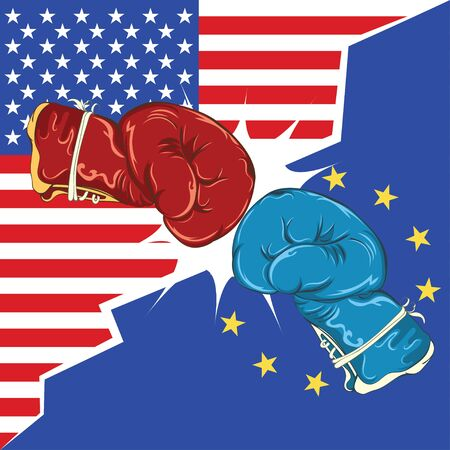 Retro boxing gloves red and blue, USA and Europe trade war concept. Illustration