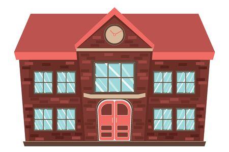 Cartoon small retro rural schoolhouse design on white background. Illustration