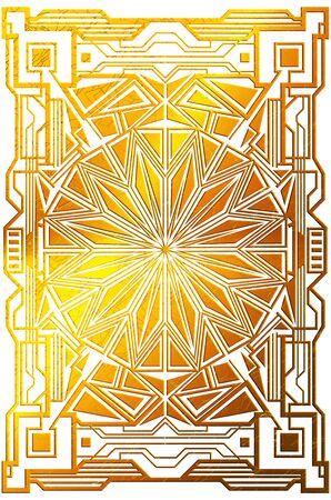 Decorative retro golden frame made of geometric elements, art deco style white background.