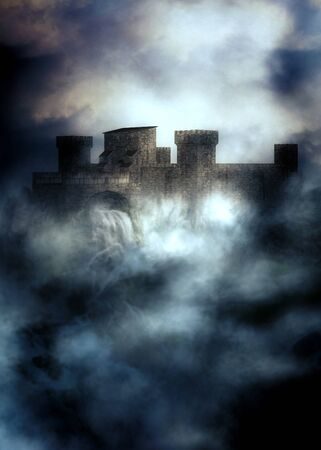 Digital rendered medieval fortress in the heavy fog at night, 3d illustration.