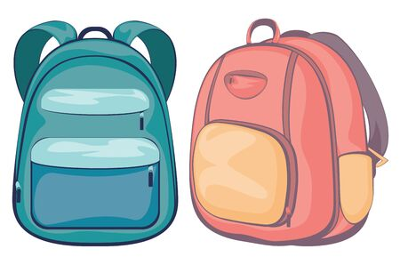 Colorful illustration of cartoon school backpack design isolated.