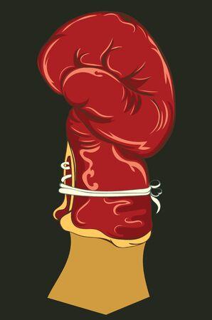 Retro style boxing fighter glove, sport themed illustration. Archivio Fotografico - 138292896