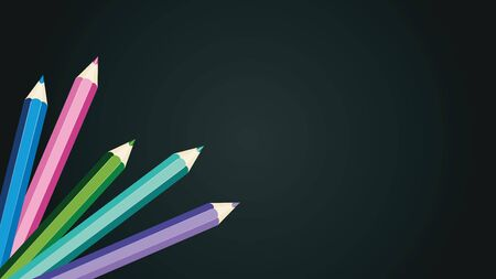Set of school supplies, crayons, colored pencils illustration.