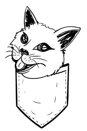 Cute doodle style cat in a pocket design. Ilustrace