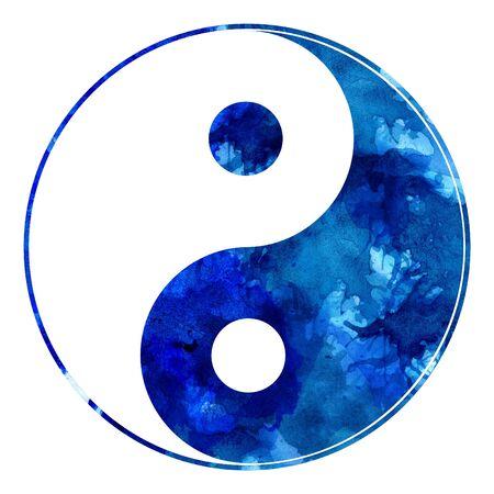 Digital of yin yang sign made with blue watercolor splatters.