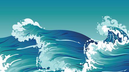 Conception de grandes vagues de la mer ou de l'océan. Vecteurs