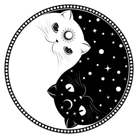 Cute cartoon black and white cats, yin yang sign.