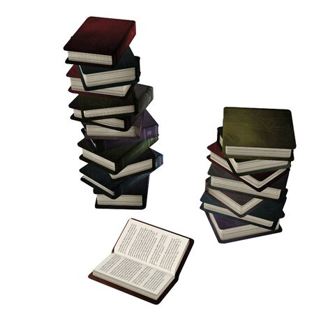 Old books in a stack, 3d digitally rendered illustration.
