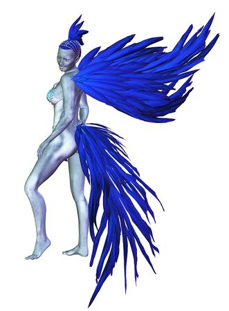 Digitally rendered 3d woman with silver skin wears carnival costume made of blue feathers illustration.