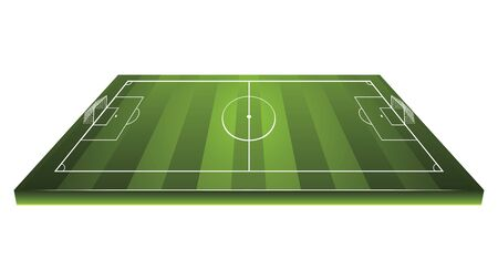 Football or soccer field with white markings illustration. 일러스트