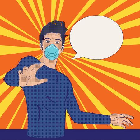 Frightened, shocked man in medical mask, virus attack, retro pop art style with halftone.