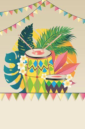Music design with colorful festive drum and tropical leaves and flowers. Vectores