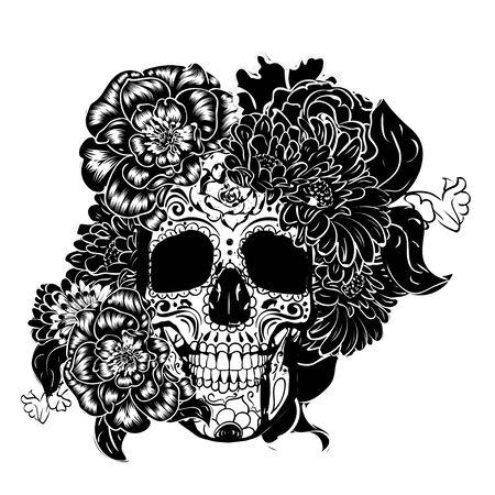 Day of the dead floral sugar skull design in black and white. Vettoriali