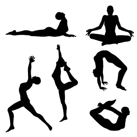 Black female silhouettes in yoga poses on white background.