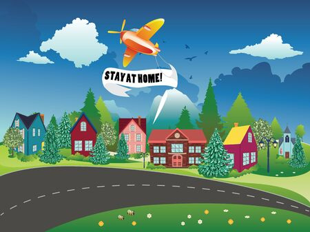 Retro airplane with stay at home banner in the sky flying over town background.