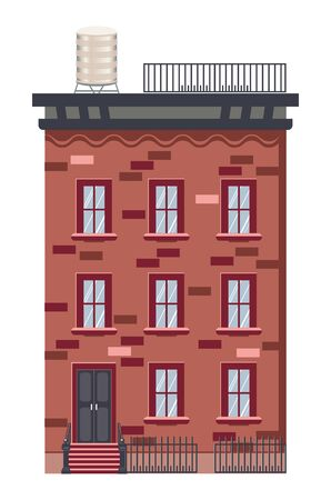 Cartoon old brick house of retro town design.