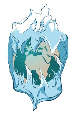 Huge iceberg with frozen planet inside of it. Illustration