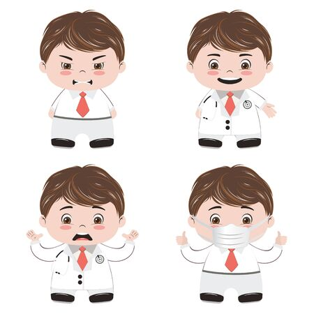 Cute cartoon doctor with medical equipment icons.