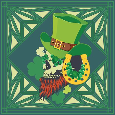 Abstract human skull with shamrock leaves design for St. Patrick's day.