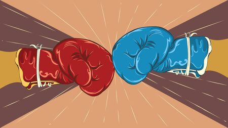 Retro style blue and red boxing gloves, sport themed illustration.