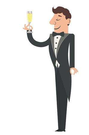 Cartoon man in tuxedo with glass of champagne illustration.