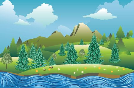 Fast river, fir trees near big mountain summer landscape. Ilustrace