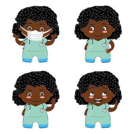 Cartoon professional female medical staff in scrubs set.